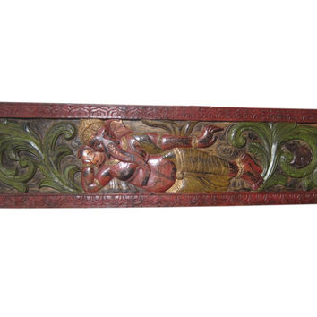 Antique Headboard Carved Wood Relaxing Ganesha Colorful Wall Panel From India