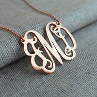 "Bridesmaids Gift,1.25"" Rose Gold Monogram Necklace,Monogrammed Initial Necklace,Celebrity Monogram Necklace,Nameplate Necklace Gold"