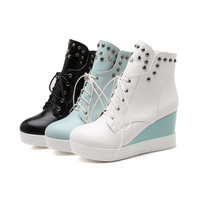 Studded Wedges Boots Women Shoes Fall Winter 11191501