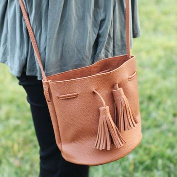 Mini Tassel Bucket Bag - Camel