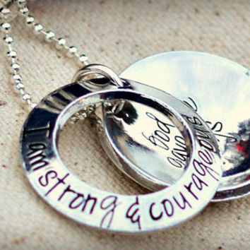 Gift for mom from son - Personalized locket - Be strong and courageous do not be afraid Joshua 1:9 - Moms necklace