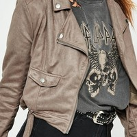 Missguided - Brown Faux Suede Biker Jacket