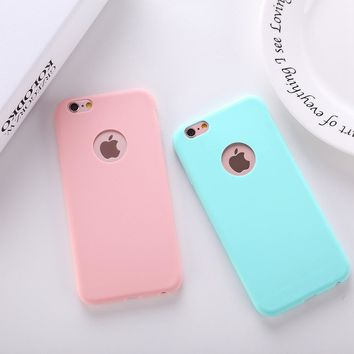 Cute Candy Color TPU Silicone Cover Case for iPhone 5 5S 6 6S Plus SE Soft Matte Frost Case