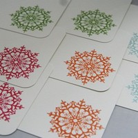Multi Colored Snowflakes All Occasion Quick Notes Card Set of Eight