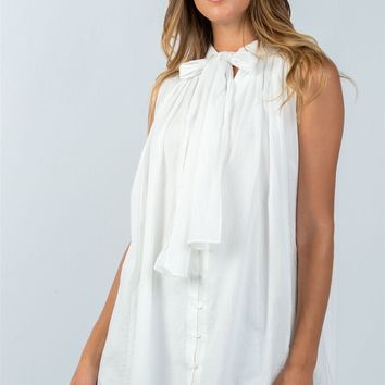 White or Blue Tie Neck Tunic Top