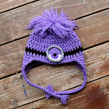 Crochet Evil Purple Minion Hat Perfect for Halloween Choose size eyes and hair for Baby Children and Adults