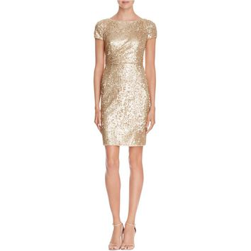 Adrianna Papell Womens Sequined Short Sleeves Cocktail Dress