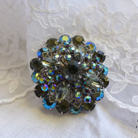 Large Rhinestone Brooch Big Rhinestone Pin Costume Jewelry Crystal Brooch Bouquet Bridal Brooch Sash Pin Smokey Grey Sparkly Brooch
