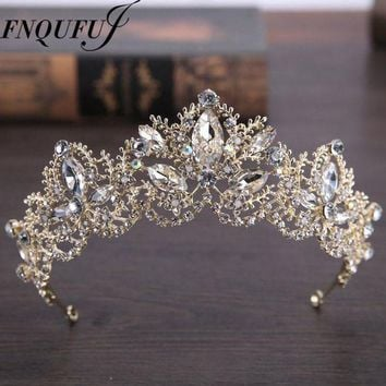 ICIKFV3 wedding crown headband Tiaras for Women flower bride crystal tiaras crowns king Wedding Hair Accessories Fashion jewelry