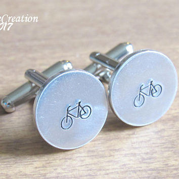 Bicycle Cufflinks - Silver Cuff Links - Groom Cufflinks - Bike Cuff Links - Wedding Cuff Links - Stamped Accessories - Gift for Dad