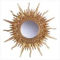 Gold Plated Sun Ray Wall Mirror