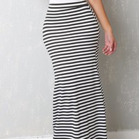 Santa Monica Black and White Striped Skirt
