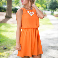 Tie Breaker Dress, Orange