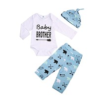 3 Pcs Newborn Baby Brother Boys Bears Bodysuit Onesuit Tops+Long Pants+Hats Outfits Clothes Clothing Set