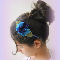 Blue headband. Blue Handmade hairband. blue Flower hairband. Girl hairband. Hair accessory. Felted hairband. hairband.