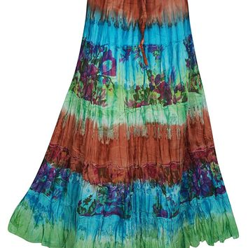 Mogul Interior Serena Womens Boho Casual Gypsy Tie Dye Skirt Lace S/M (Brown,Blue): Amazon.ca: Clothing & Accessories