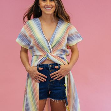 Striped Cover Up Maxi Dress, Rainbow