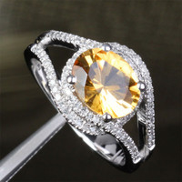 Oval Citrine Engagement Ring Pave Diamond Wedding 14K White Gold 7x9mm