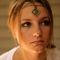 Bronze Head Piece with Charm by NativeLivingJewelry on Etsy