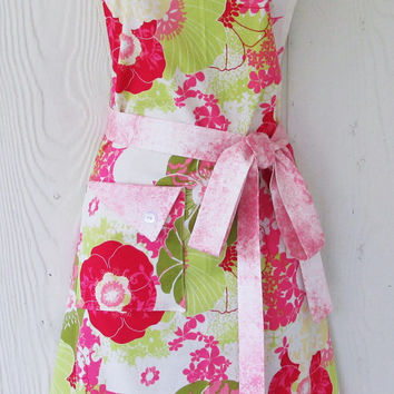 Floral Apron, Pink Floral, Full Apron, Retro Style Apron, KitschNStyle
