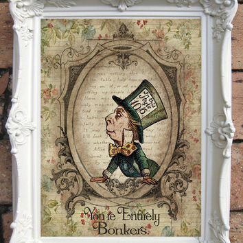 ALICE in WONDERLAND Decor Alice in Wonderland Print Quote Shabby Chic Decor We Are All Mad Here Party Mad Hatter White Rabbit Chesire  C:A16