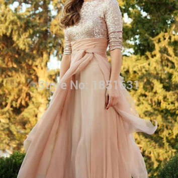 2017 Muslim Evening Dresses A-line Half Sleeves Champagne Chiffon Squins Islamic Dubai Abaya Kaftan Long Evening Gown Prom Dress