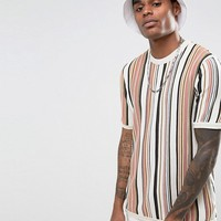 ASOS Knitted T-Shirt In Neutral Stripe at asos.com