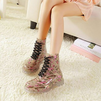 Korean style perspective crystal retro printing rain boot