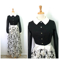 Vintage 1950s Cotton Dress Floral Print Black and White Peter Pan Collar Bow Long Dress