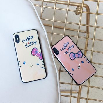 Rlenda Pink Hello Kitty Cat White Ground Luxury 3D blu-ray Soft TPU cover phone case for iphone 7 Plus 8 6 X 6S