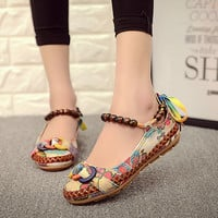 Big Size 42 Women Ladies Vintage Casual Flat Shoes Fashion Exotic Beaded Ankle Straps Loafers Retro Ethnic Embroidered ShoesO916