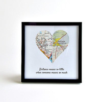 Personalized Map Heart / Long Distance Relationship Gift / Gifts Under 25 /  Long Distance Boyfriend Gift / Personalized Christmas Gifts