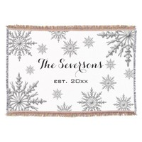 Personalized Silver Winter Snowflakes Throw