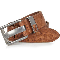 River Island MensBrown tan leather chunky prong belt