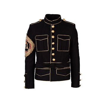 Balmain Mens Black Military Embellished Jacket