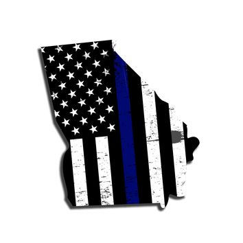 Georgia Distressed Subdued US Flag Thin Blue Line/Thin Red Line/Thin Green Line Sticker. Support Police/Firefighters/Military