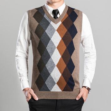 wool sweater vest 2016 new argyle patterns autumn winter mens casual cashmere men sleeveless knit vest male clothing
