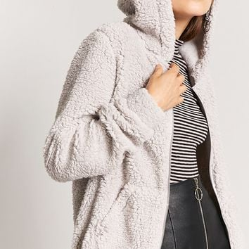 Faux Shearling Hooded Jacket
