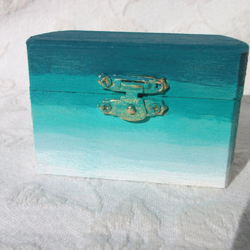 Turquoise Teal and White Ombre Wedding Ring Bearers Pillow Box Beach Wedding