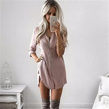 Fall 2017 Fashion Women Long Sleeve Casual Shirt Dress Autumn Winter Khaki Black Sexy Club Party Mini Dresses Plus Size