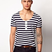 ASOS Stripe Grandad With Scoop Neck at asos.com