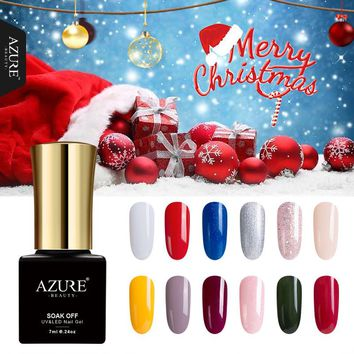 Azure Beauty 12Pcs/Set Christmas Series UV Nail Gel Polish DIY Nail Art UV Gel Polish XMAS Gift For Red Color Led Gel Lacquer