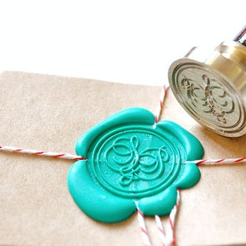 Custom Wedding Initials Gold Plated Wax Seal Stamp - And Script x 1