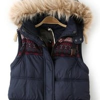 fashion fur trim hoody vest/chic and warm navy 12