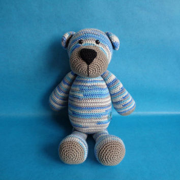 Bram beer, Stip en Haak inspired crochet bear, teddy bear, cuddly toy, stuffed toy, babyshower gift,