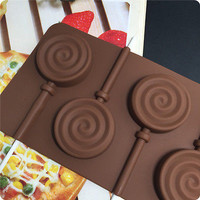 6 Circles Fondant Lollipop Mold Chocolate Silicone Mould for Kitchen BakeTool LS