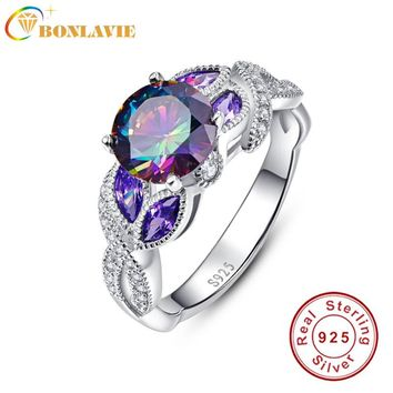 BONLAVIE 925 Sterling Silver Mystical Rainbow Topaz Rings with Sapphire Accent Stone Fashion Design Engagement Wedding Band Ring