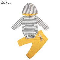Newborn Clothing 2017 Fall Autumn Casual Long Sleeve Striped Hooded Romper Tops+Long Pant 2PCS Set Infant Baby Boy Girl Clothes
