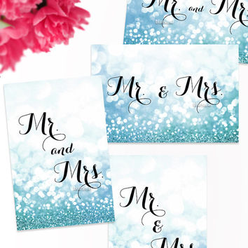 "Printable Mr & Mrs table signs. Frosty blue wedding printable signs. Size 6x4"" 4x6"". Winter wedding, sweetheart table signs - wed013 Crystal"