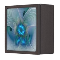 Standing Ovations, Abstract Blue Turquoise Fractal Keepsake Box